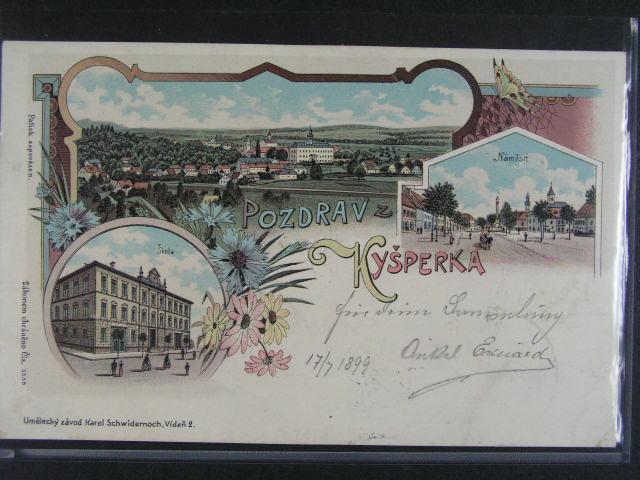 Kyšperk - bar. litograf. koláž, dl. adresa, Schwidernoch, použitá 1899, dobrá kvalita