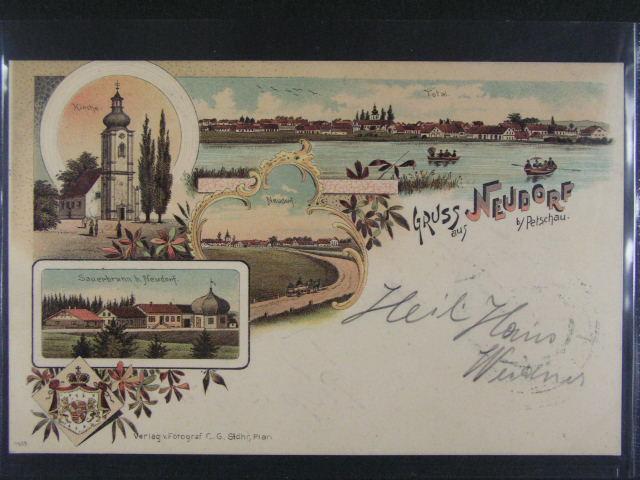Neudorf bei Petschau - bar. litograf. koláž, dl. adresa, použitá 1898, velmi dobrá kvalita