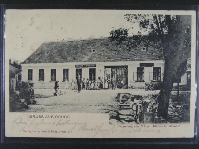 Ochoz u Brna, obecní hostinec - jednobar. litograf., dl. adresa, dobrá kvalita, použitá 1903