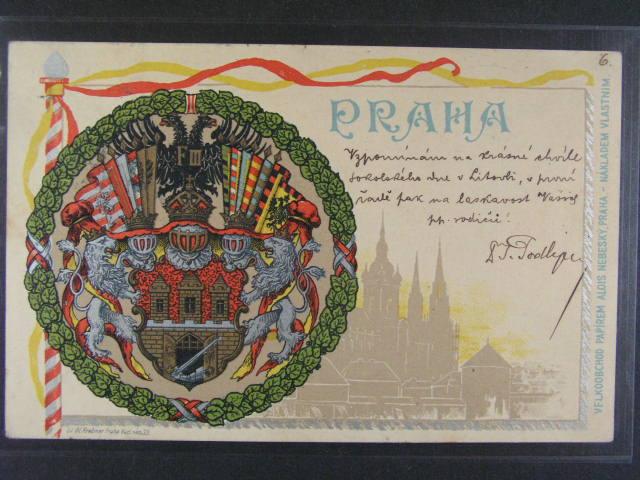 Praha - bar. litograf. koláž se znakem hl. m?sta Praha, dl. adresa, použitá 1900, lux. kvalita