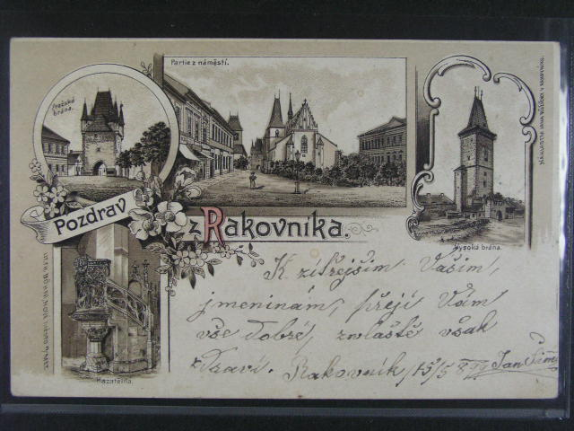 Rakovník - jednobar. litograf. koláž, dl. adresa, použitá 1899