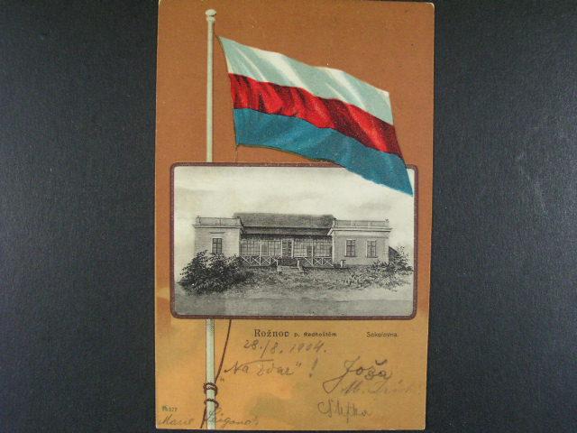 Rožnov pod Radhošt?m sokolovna - bar. litograf koláž, použitá 1904
