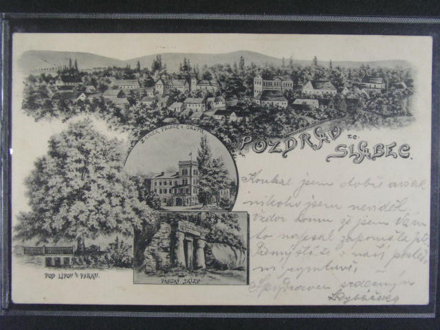 Slabec - jednobar. litograf. koláž, dl. adresa, použitá 1901