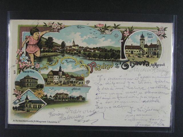 Tišnov - bar. litograf. koláž Schwidernoch, dl. adresa, použitá 1902, velmi dobrá kvalita