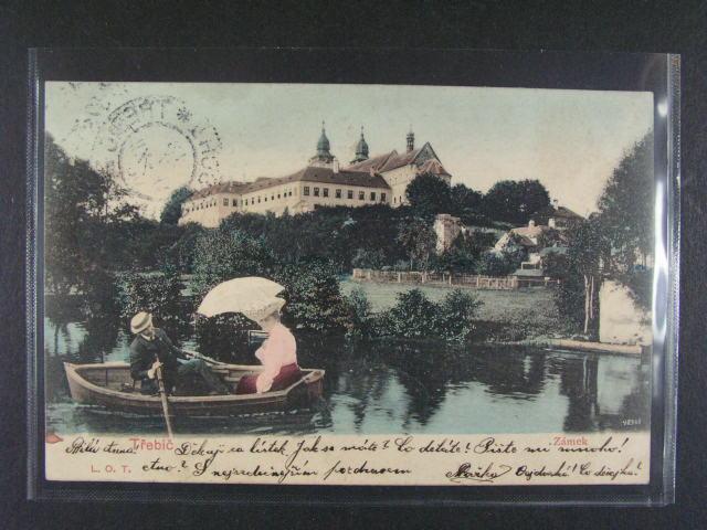 T?ebí? - bar. pohlednice, dl. adresa, použitá 1903