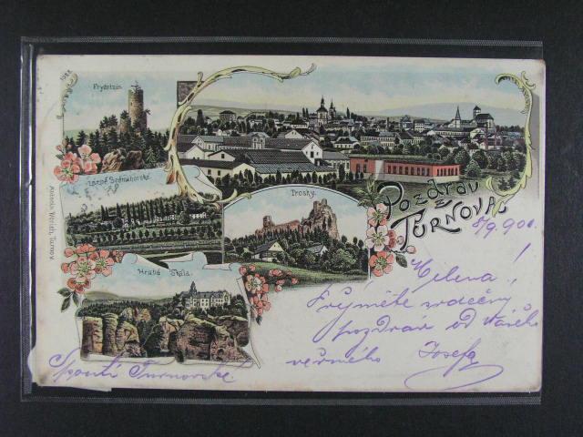 Turnov - bar. litograf. koláž, dl. adresa, použitá 1901