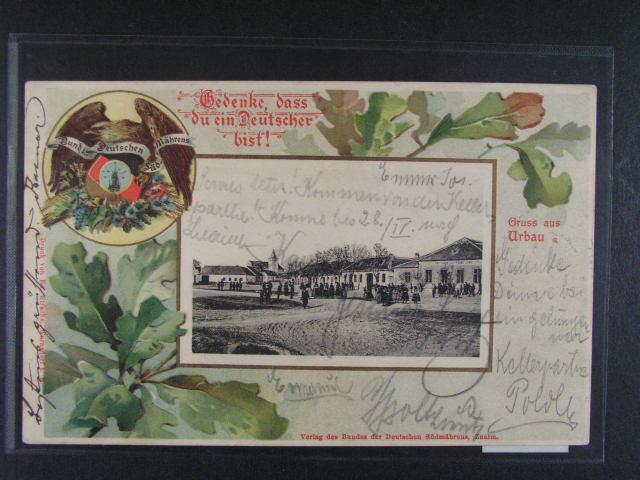 Urbau - Vrbovec -bar. litograf. koláž, dl. adresa, použitá 1901, velmi dobrá kvalita