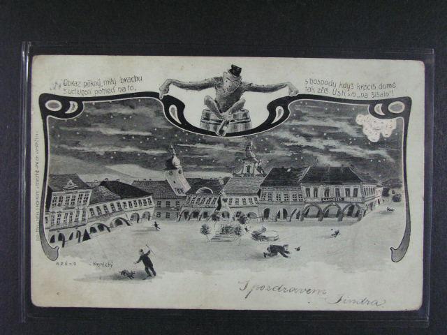 Ústí nad Orlicí - pijácká jednobar. koláž, dl. adresa, použitá 1902