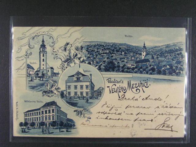 Velké Mezi?í?í - jednobar. litograf. koláž, dle. adresa, odlepená zn., použitá 1901