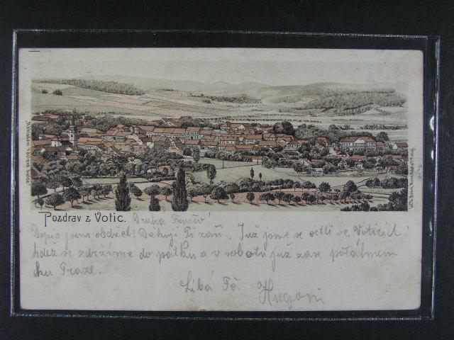 Votice - bar. litograf. pohl., dl. adresa, použitá 1900