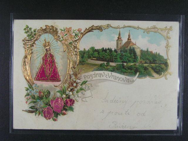 Vranov u Brna - bar. reliéfní litograf. koláž, dl. adresa, použitá 1902, dobrá kvalita