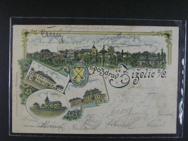 Žiželice - bar. litograf. koláž, dl. adresa, použitá 1904