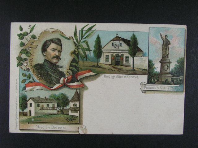 sestava 10 ks pohlednic  s vazbou na K.H. Borovského, 1x litograf. koláž, dl. adresa