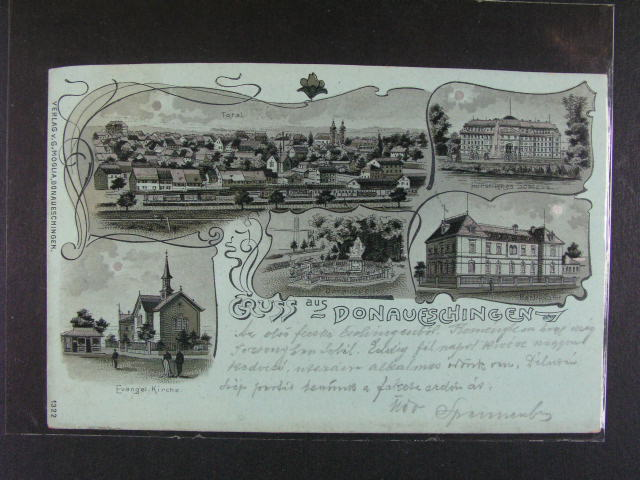 Donaueschingen - jednobar. okénková litograf, dl. adresa, použitá 1901, lux. kvalita