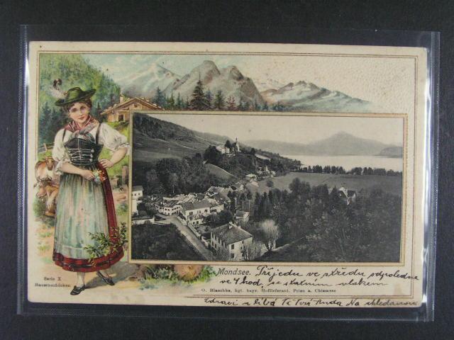 Mondsee - bar. reliéfní litograf. koláž, dl. adresa, použitá 1908