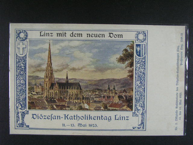 Linz - Nový chrám - bar. pohlednice ke dni katolík? 1923, nepoužitá