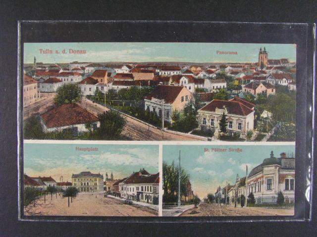 Tulln a.d. Donau - baz. okénková pohlednice, použitá 1916, dobrá kvalita