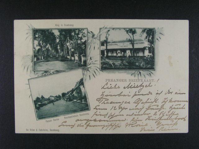 Holandská Indie - jednobar. okénková litografie z Bandoengu, použitá 1901