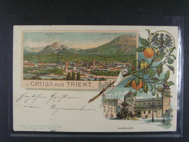 Itálie - Trento - bar. litograf. koláž, dl. adresa, použitá 1897