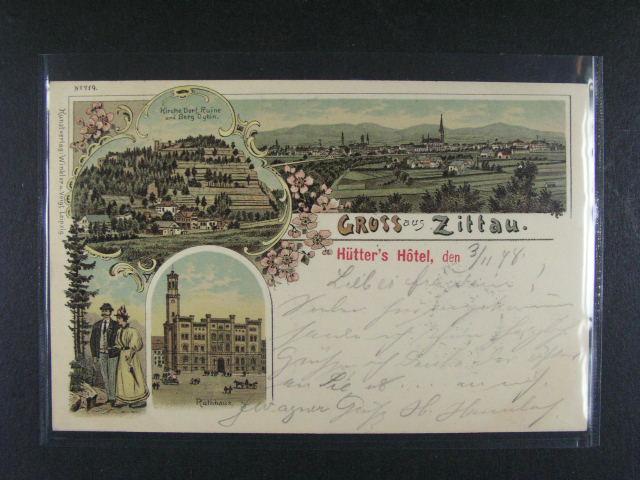 N?mecko - Zittau - bar. litograf. koláž, dl. adresa, použitá 1898, velmi dobrá kvalita