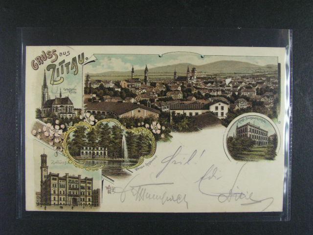 N?mecko - Zittau - bar. litograf. koláž, dl. adresa, použitá 1898, dobrá kvalita