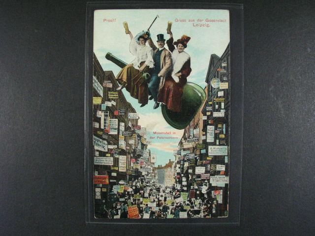 N?mecko - Lipsko - bar. litografie s pijáckým nám?tem, použitá 1907