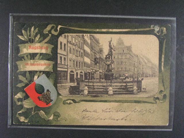 N?mecko - Augsburg - bar. litograf. koláž, dl. adresa, použitá
