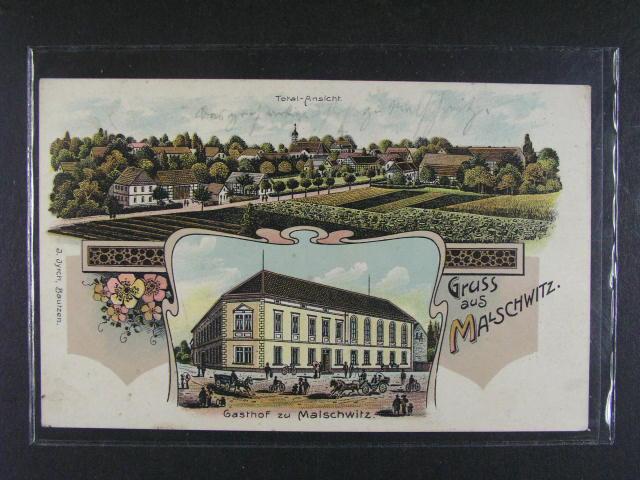 N?mecko - Malschwitz - bar. litograf. koláž, použitá 1909, dobrá kvalita