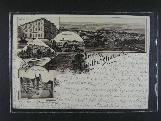 N?mecko - Eilburghausen - jednobar. litograf. koláž, dl. adresa, použitá 1897, dobrá kvalita