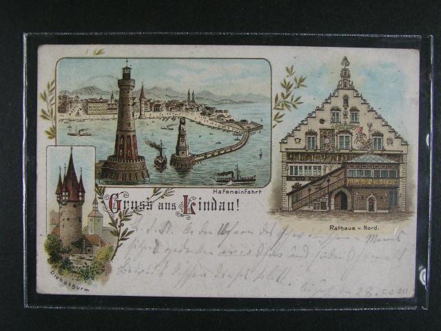 N?mecko - Kindau - bar. litograf. koláž, dl. adresa, použitá 1897, dobrá kvalita