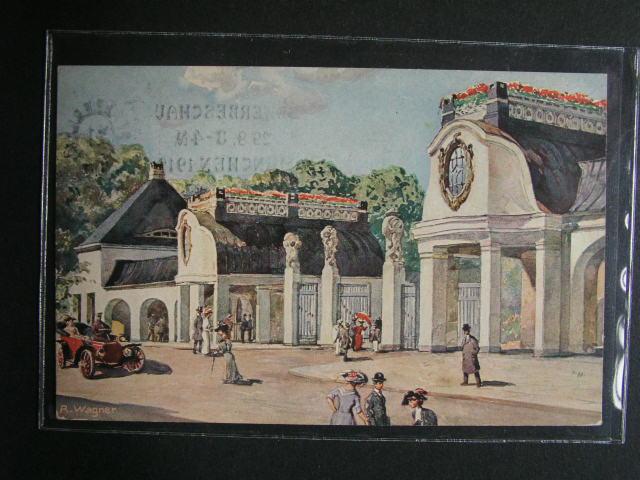N?mecko - Mnichov - oficielní celinová bar. pohlednice Bayrische Gewerbeschau 1912 s výstavním raz.