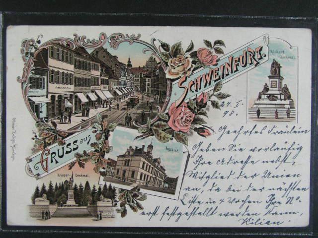 N?mecko - Schweinfurt - bar. litograf. koláž, dl. adresa, použitá 1898