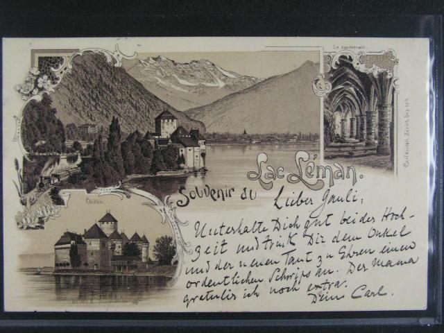 Švýcarsko - Léman - jednobar. litograf. koláž, dl. adresa, použitá 1897, dobrá kvalita