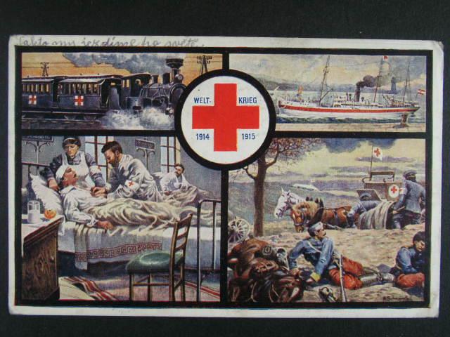 ?ervený k?íž - bar. oficielní okénková pohl. WELTKRIEG 1914 - 15, použitá FP 1915