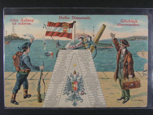 Lod? - bar. pohlednice S.M.S. Viribus Unitis použitá 1914