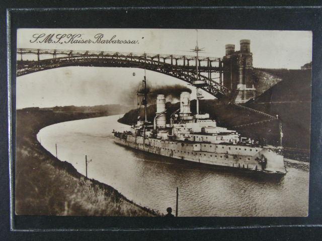 Lod? - jednobar. pohlednice S.M.S. Kaiser Barbarossa, použitá 1916
