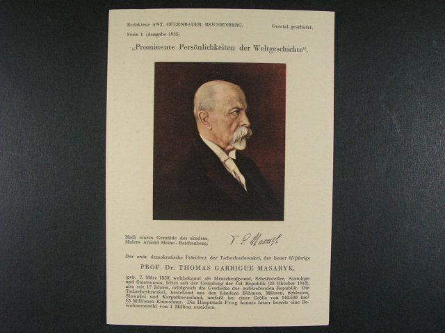 Osobnosti - bar. pohlednice s portrétem TGM, nepoužitá, dobrá kvalita