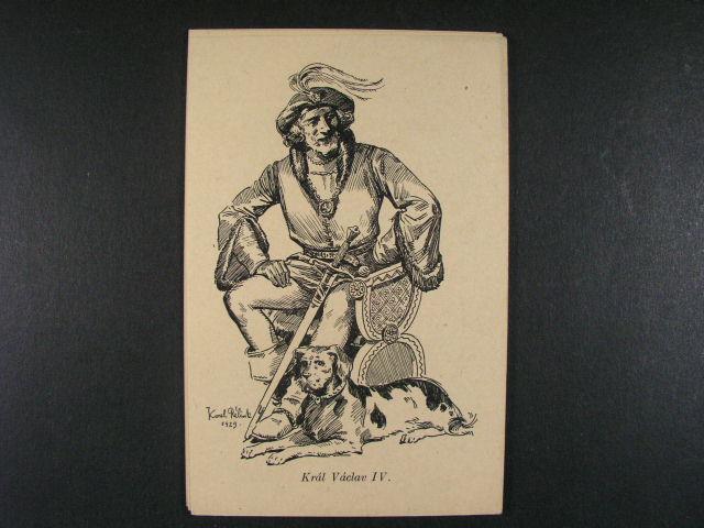 Osobnosti - sestava 8 ks jednobar. pohlednic s ?eskými králi, nepoužité, vydání K. Relink 1929