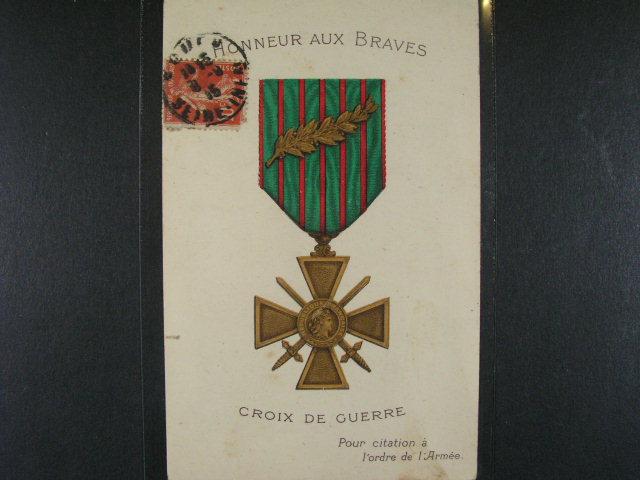?ády - bar. pohlednice Honneur Aux Braves Croix de Guerre, použitá 1915