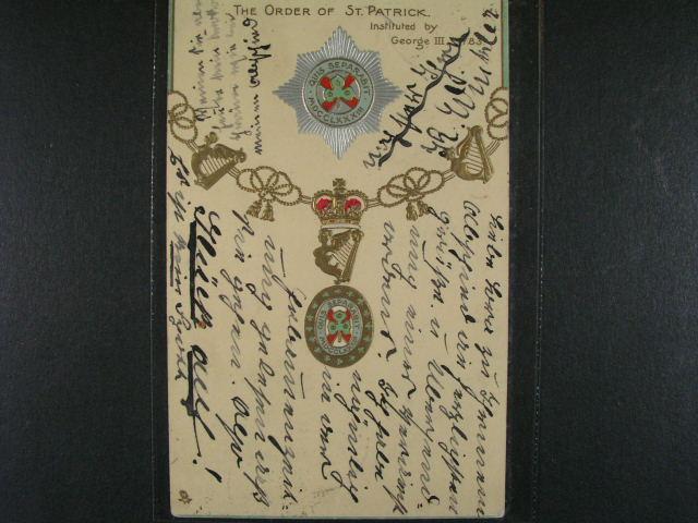 ?ády - bar. reliéfní pohlednice s ?ádem Sv. Patrika, použitá 1905