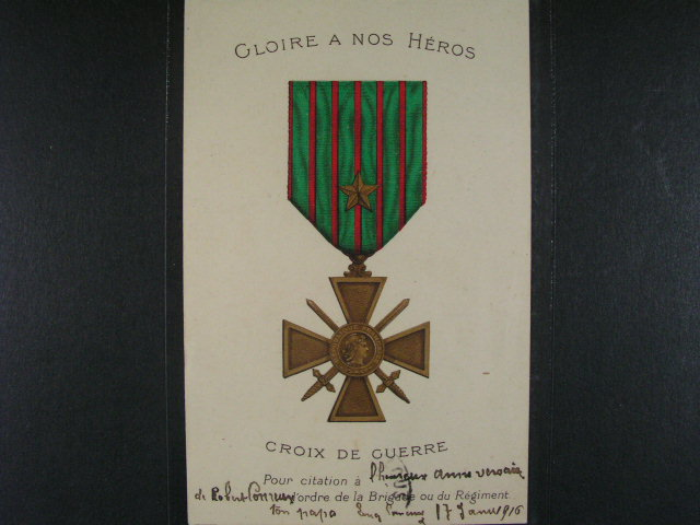 ?ády - bar. pohlednice  ... Croix de Guerre, z r. 1916, nepoužitá