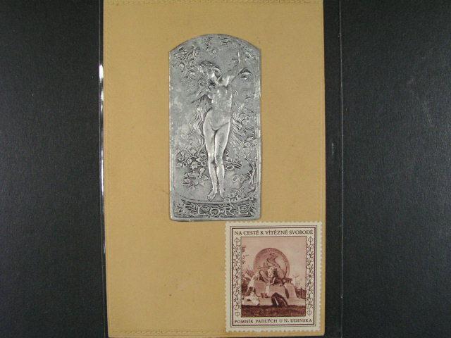 Um?ní - dv? secesní reliéfní pohlednice s hliníkovou fólií, hudba, FLORE, dobrá kvalita, zajímavé