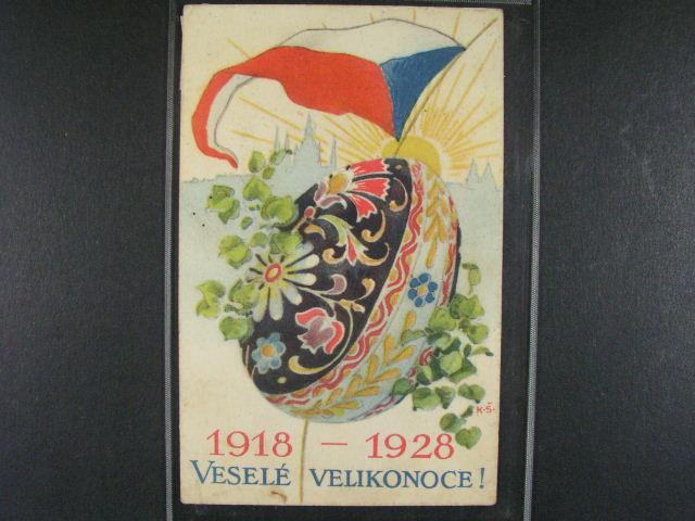 Velikono?ní pohlednice vydaná k 10tému výr. vzniku ?SR, použítá 1928, + jednobar. litograf. použitá 1923