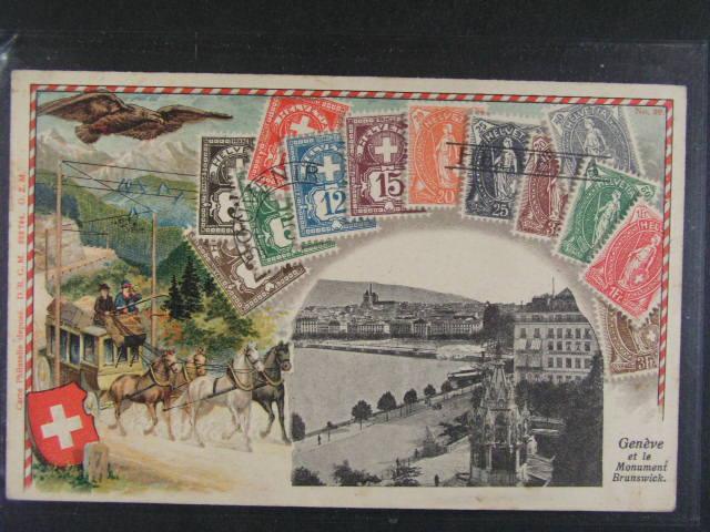 Známky - bar reliéfní. litograf. koláž Švýcarsko s obrázkem Ženevy, použitá 1907
