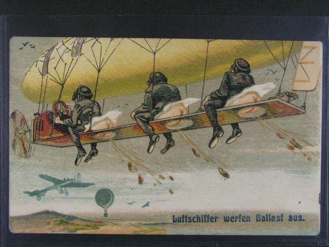 Žertovné - bar. pohlednice Luftschiffer werfen Ballast aus, nepoužitá, dobrá kvalita