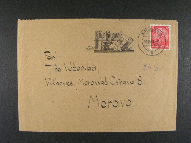 Breslau - dopis v?. obsahu frank. zn. 12pf Hindenburg, pod. raz. BRESLAU 1 29.10.42