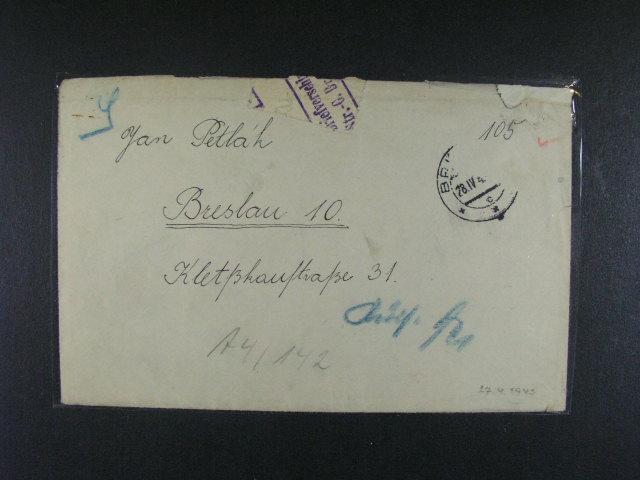 Breslau - dopis z r. 1943 z Brna do KT v?. obsahu s odlepenou zn. cenzurou, cenzurní p?elepkou