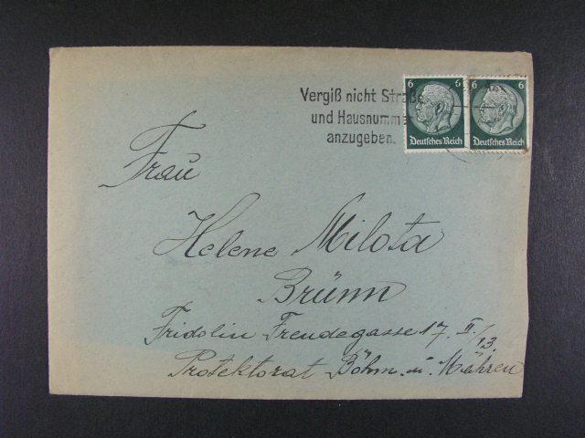 Buchenwald - dopis do Brna v?. obsahu frank. zn. 6pf Hindenburg (2x), pod. raz. WEIMAR 1940