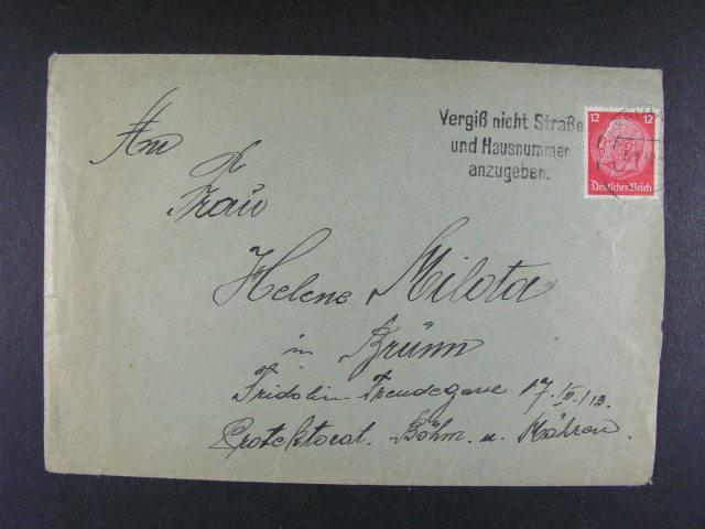 Buchenwald - dopis do Brna v?. obsah frank. zn. 12pf Hindenburg, pod. raz. WEIMAR 5.6.40