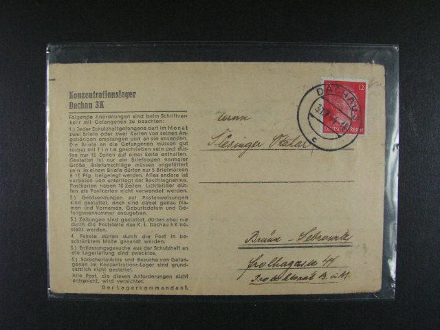 Dachau - skl. formulá? frank. zn. 12Pf A.H. s raz. DACHAU 31.7.44 + cenzura